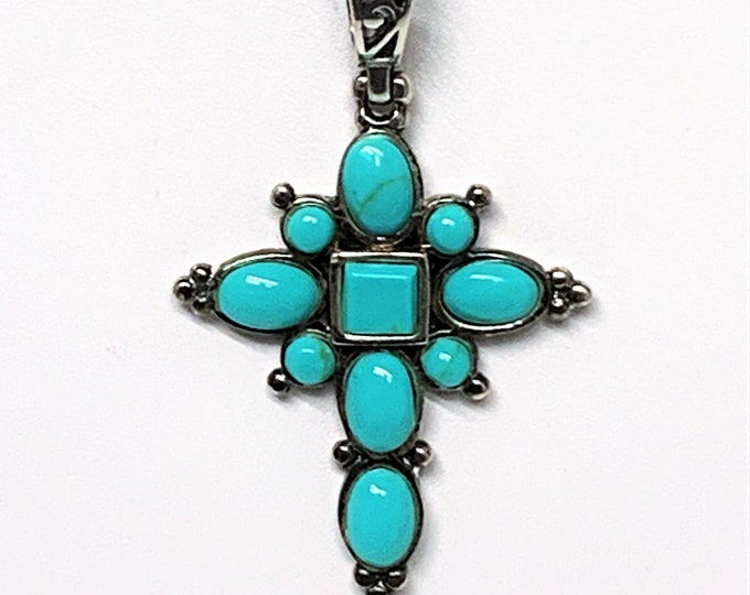 "Sterling Silver Fine Blue Turquoise Victorian Cross, Hand Crafted, Oval - Round & Square Cabochons, 2"" L. 1"" W. 16-18"" Box Chain. Stunning."