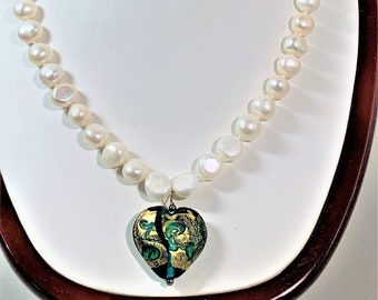 "Keshi Natural White Pearls Necklace, 44 Count 9-11.5 mm Pearls, Venetian Glass Heart Drop, Sterling Toggle Clasp, 18"" Long. Free US Shipping"