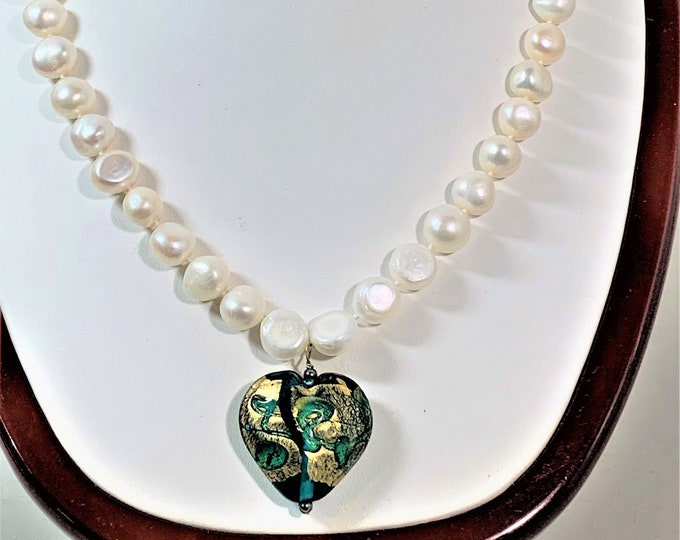 """Keshi Natural White Pearls Necklace, 44 Count 9-11.5 mm Pearls, Venetian Glass Heart Drop, Sterling Toggle Clasp, 18"""" Long. Free US Shipping"""