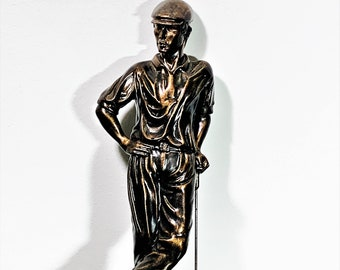 """Golfer at Golf Course, Bronze and Bronze-Finish, Wood Base, Realistic Details, Stands 15.5"""" High. Perfect Condition. Free US Shipping."""