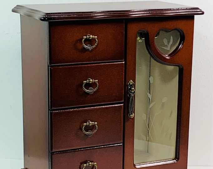 """Vintage Mahogany Jewelry Armoire, Etched Glass Door, 4 Padded Drawers, Rings Drawer, 10.5"""" T, 9.5"""" W. Superb Condition, Free US Shipping."""
