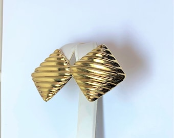"""Vintage Sterling Silver & 18K Gold Vermeil Clip on Earrings, Large Ridged High Polished 1.25"""" , Secure Tight Clips, 14.40 Grams."""
