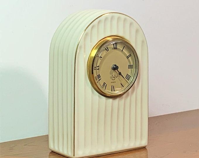 "Lenox USA Original Porcelain Arch Shaped Clock, Precision Quartz - N Battery, Works Perfectly, Circa 1990's. 7"" T. 4.5"" W. Free US shipping."