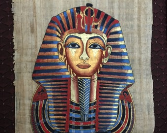 Vintage Hand Painted Egyptian Papyrus, King Tutankhamun Gold Mask, 17X13 inch, 3D impression