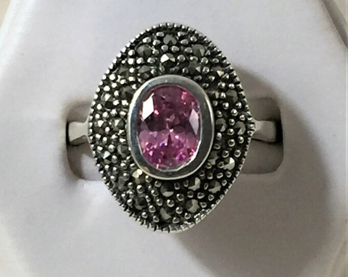 Vintage Sterling Silver Marcasite and Pink CZ Ring, Beautiful 2-Tier Ring, Top 20 X 14mm, Size 8
