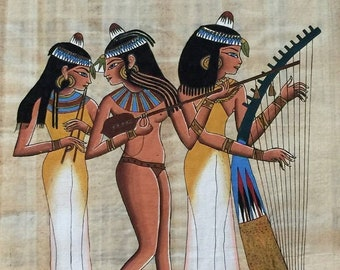 Vintage Genuine Hand Painted Egyptian Papyrus, Daily Life Scene, Dendarah Temple 18 X 13 inch -  43 X 33 cm