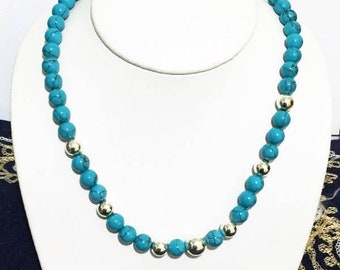 """Sterling Silver Large Beads and 8 mm Composed Blue Turquoise Beads Beads Necklace,  18"""" Long, Spring Clasp. Free US Shipping"""