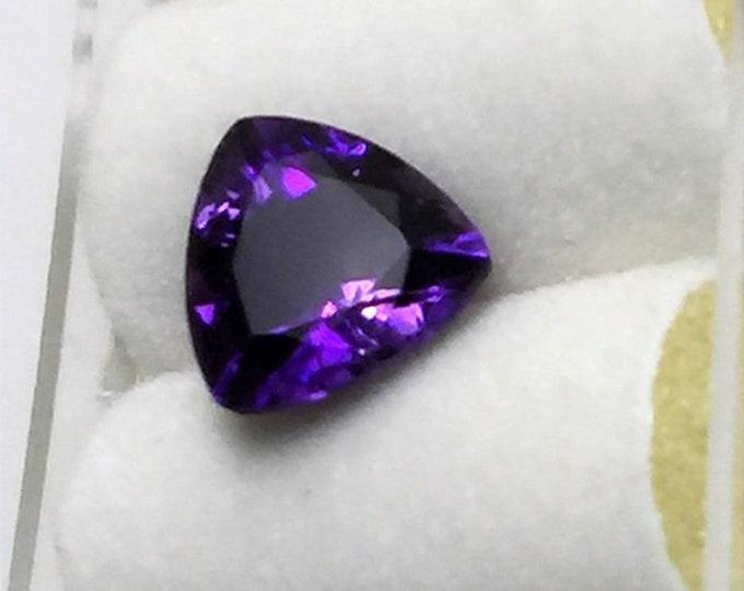 Natural Amethyst Loose Gemstone, Medium Dark Purple - Violet Trilliant Cut, 8 mm, 1.60 carats, Top Quality Gem, Grade AAA