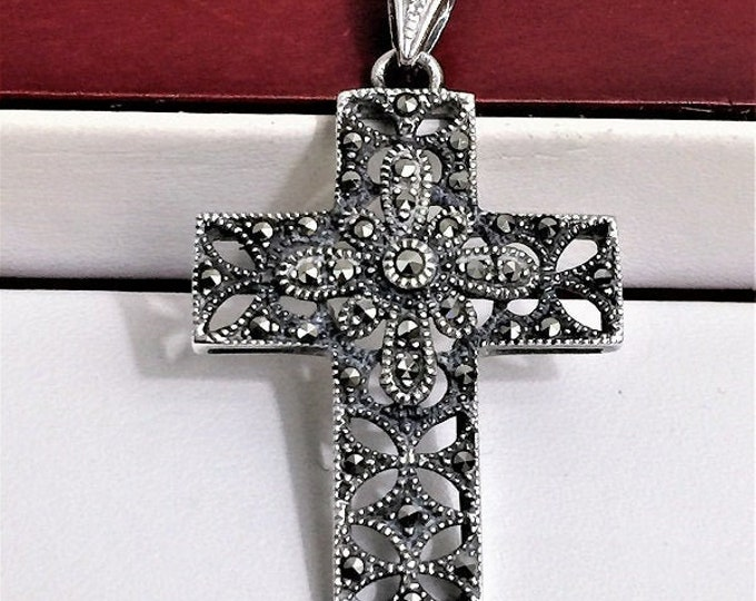 """Vintage Sterling Silver and Marcasite Cross, Beautiful Old School Work,  1 5/8"""" Long 1"""" Wide"""