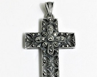"""Vintage Sterling Silver and Marcasite Cross, Beautiful Victorian Hand Work, 1.75"""" Long 1"""" Wide, Circa 1980's. Free US Shipping."""