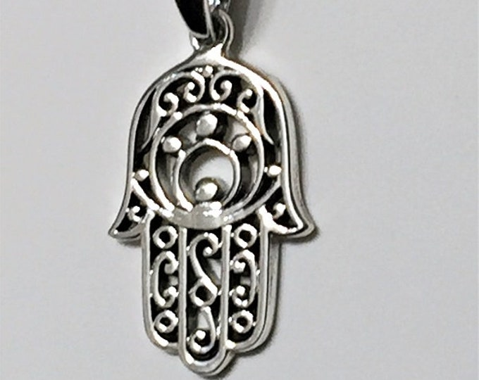Sterling Silver Hamsa-Khamsa, Defense Against the Evil Eye, 25X15 mm, Meaningful Charm. A Universal Sign of Protection,