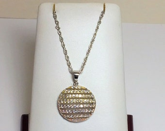 """Sterling Silver Glamorous Slide, Gold & Rhodium Overlay, Round Brilliant Rows of CZ, 1"""" Circle, 16"""" Vintage Sterling Chain. Free US Shipping"""