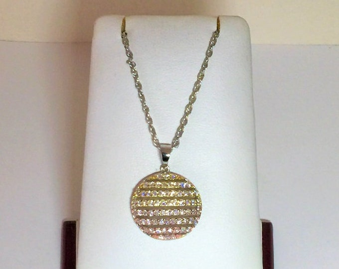 """Sterling Silver Glamorous Necklace, Gold Overlay, Round Brilliant Cubic Zirconia, Filegree Work, 1"""" Circle, 16"""" Vintage Sterling Chain."""