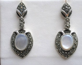 """Vintage Sterling Silver Marcasite & Cabochon Mother of Pearl Dangle Earrings, Beautifully Crafted, 1 3/4"""" - 42mm Long. Free US Shipping"""