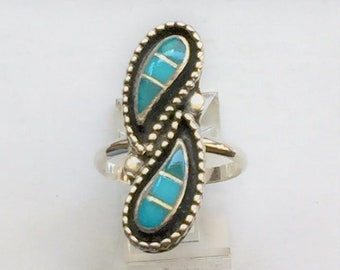 """Vintage Sterling Silver and Natural Blue Turquoise Nvajo Theme Ring, Hand Made, 1 1/8"""" - 28 mm long, Size 7 US, Free US Shipping."""
