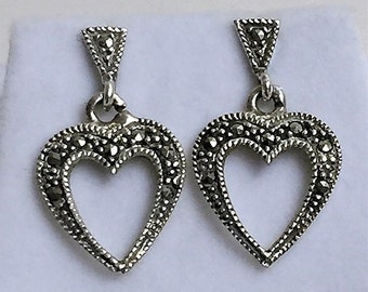 """Sterling Silver Hearts Dangle Earrings, Studded with Marcasite Stones, 1"""" - 25mm Drop, Posts"""