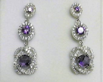 Sterling Silver .925 Dangle Earrings, Amethyst and Brilliant Cut CZ , Posts with Screw Backs, 1 1/2 inch - 4 cm, Hand Work