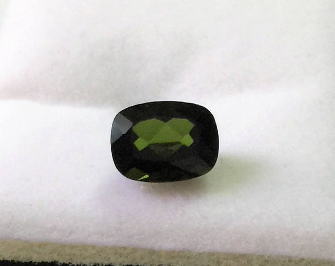Genuine Natural Green Tourmaline,Olive Green, Extra Facets Long Cushion Cut Loose Gemstone, 1.48 carats, 8.20 X 6.20 mm, Brazil