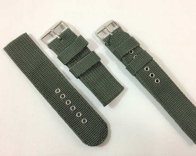 Army Green Nylon Wrist Watch 18 – 20 - 24mm Lugs, Stainless Buckle, Heavy-Duty Water-Resistant Strap, New Old Stock