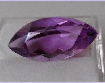Genuine Natural AMETHYST, Marquis Cut Loose Gem Stone, Medium Purple Color, 6.17 ct., 18 x 9 mm.