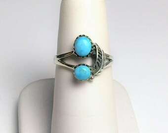 Vintage Sterling Silver and Natural Blue Turquoise Nvajo Theme Ring, Hand Made, Size 7