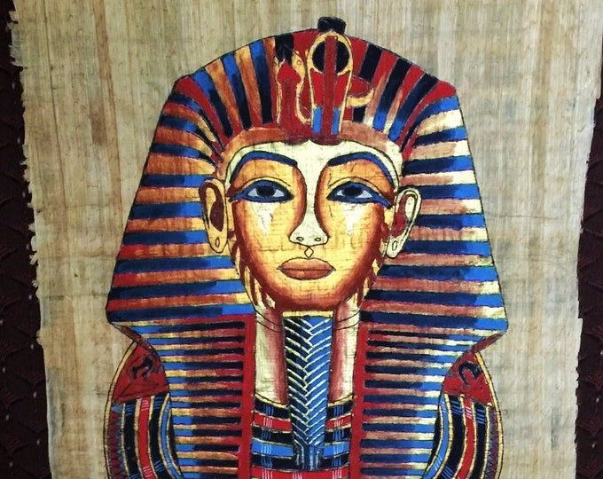 Vintage Hand Painted Egyptian Papyrus, King Tutankhamun Gold Mask, 17X13 inch, 3D impression