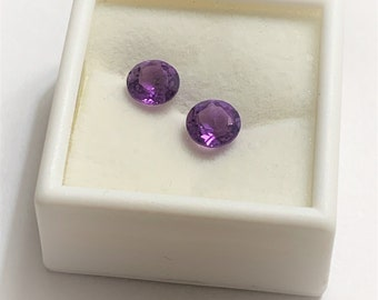 Pair of Natural Amethyst Loose Gemstone, 7mm Round Brilliant Cut, Amazing Luster Rose De France Purple,  2.48 Carats.