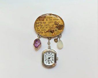 Vintage Interesting Artistic Brooch, Old German Silver, Dangles Geneva Watch, Polished Amethyst, Moonstone & Topaz, Lacquered Art Message.