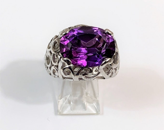 Genuine Large Purple Amethyst 12.53 Carats, 15.5 X 12 mm, Sterling Silver Hand Made Ornate Setting, Size 7. Custom Made.