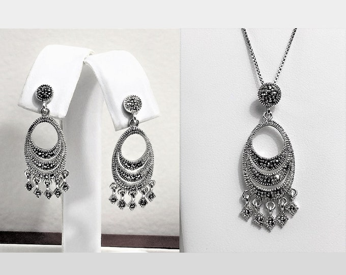 Vintage-Antique Sterling Silver and Marcasite Set, Necklace & Earrings, Hand set Marcasite, 1930's