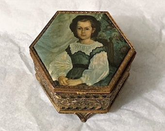 "Antique Collectible Mademoiselle Romaine Lacaux Trinket Box, Filigree and Etched Craft, Gold Plated Brass, Silk Top, 3.25""- 8cm, France"