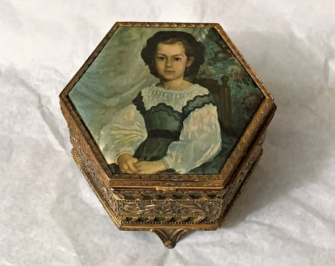 """Antique Collectible Mademoiselle Romaine Lacaux Trinket Box, Filigree and Etched Craft, Gold Plated Brass, Silk Top, 3.25""""- 8cm, France"""