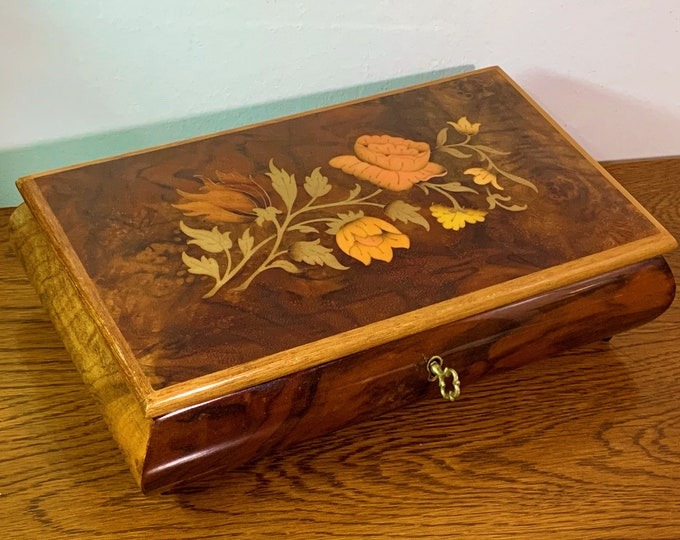 "Collectible Sorrento Italy - Sankyo Large Music Box, Chocolate Burl-Elm Wood. 'The Impossible Dream', 10"" W. 6"" L. 3"" H, Key Lock, Top Grade"