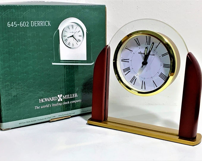 """Howard Miller Brass & Mahogany Wood Alarm Clock, Floating Dial in Tempered Glass, 7"""" W. 6.5"""" T. Box - Warranty, 645-602, Free US Shipping."""
