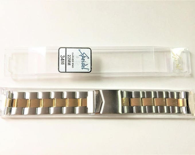 Speidel Stainless Steel Top Quality Watch Band, Curved Lugs 22 mm,Two Tone, Double Clasp,Old Stock, High Polish and Matte Finish