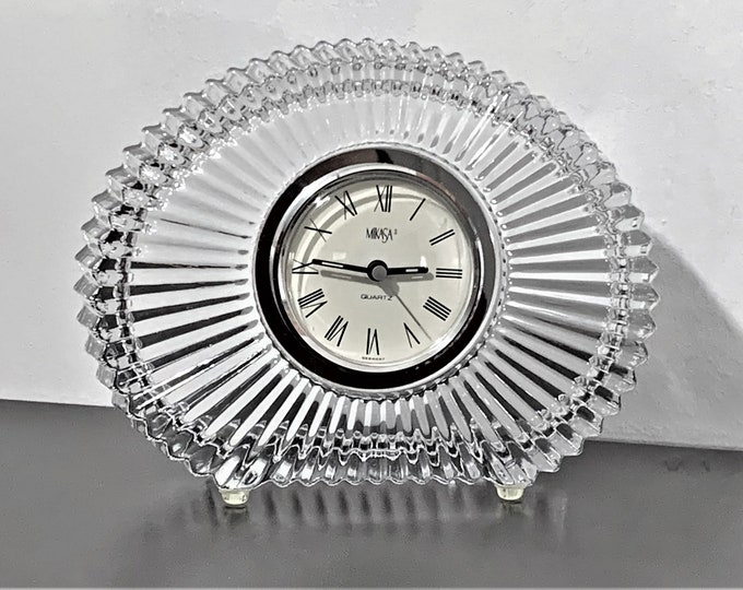 "Vintage Mikasa Diamond Fire® Fine Crystal Clock, Large Size 8 1/4"" Wide, 6 1/4"" High, Mint Condition - Works Perfectly, Free US Shipping."