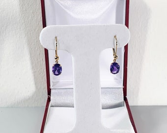 14K Yellow Gold & Purple Amethyst Gemstone Dangle Earrings, Oval Faceted 8X6mm Amethyst 2.20 Carats T.W, Lever Backs, Free US Shipping.