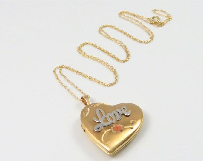"""10K yellow & White Gold Heart Locket Necklace, 3 Grams, 18"""" Chain, 1.25"""" Drop. Picture Ready. Free US Shipping."""