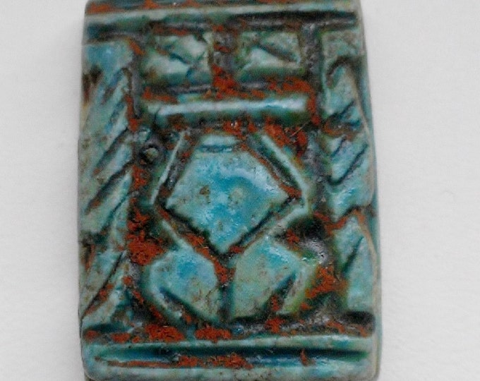 Vintage Ancient Egyptian Faience Lady Seal Amulet,  Abydos, Upper Egypt, 26 mm