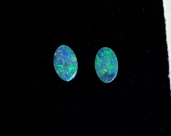 2 Amazing Australian Opals, Fascinating Blue and Green Fire, Oval Shape 6.20 X 4 mm, .60 carats Total Weight