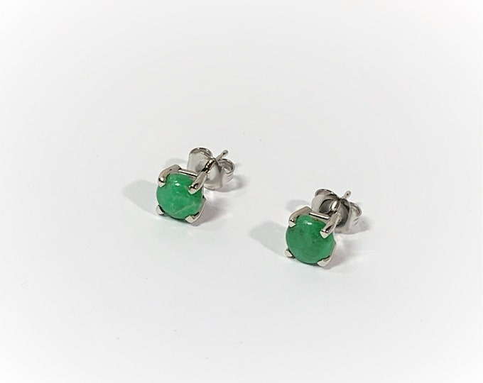 Burma Type A Jedeite 6mm Cabochon Green Jade Stud Earrings, 14K White Gold Solid Basket Setting. Vintage Stones. Free US Shipping.
