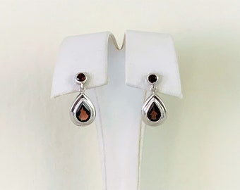 "Sterling Silver Pyrope Garnet Gemstone Drop - Dangle Earrings, High Polish, Round and Pear Shape Garnet 3.20 carats, 22mm- 7/8"" Drop."