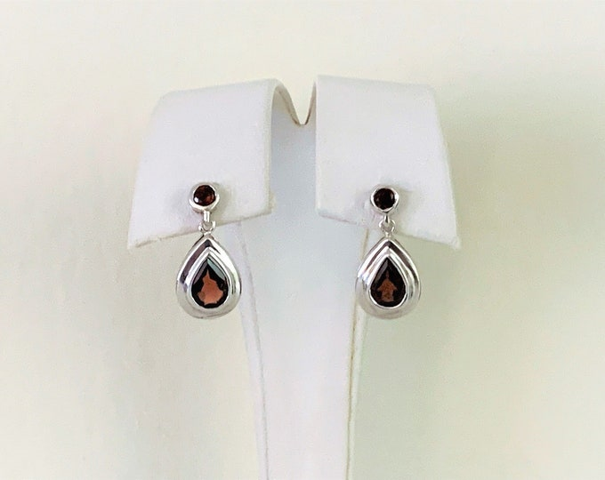 "Sterling Silver Pyrope Garnet Gemstone Drop - Dangle Earrings, High Polish, Round and Pear Shape Garnet 3.20 carats, 22mm- 7/8"" Drop."