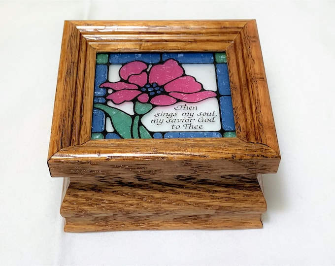 "American Red Oak P. Graham Dunn Sankyo Music Box Plays ""How Great Thou Art"", Stained Glass Top, 3 1/4"" x 3"". Made in USA,Free Shipping"