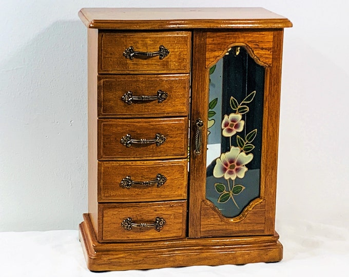 "Vintage Hand Made Jewelry Armoire Chest, Floral Glass Door, Hangers, Mirror, 5 Padded Drawers, 11.5"" Tall, 9"" W. Restored, Free US Shipping."