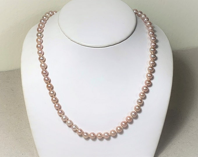 Natural Classic Cultured Freshwater Pearls Necklace, Peach Luster with Pink Overtone,6mm Excellent Round Shape,14K Gold Filigree Pearl Clasp