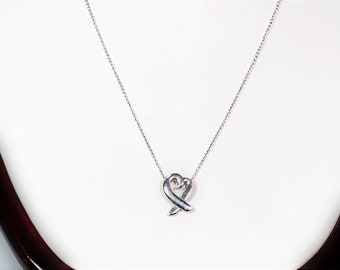 """Tiffany & Co. Paloma Picasso® Collection The Loving Heart on a 16"""" Chain in Sterling Silver, Signed, Refinished. Authentic. Free US Shipping"""