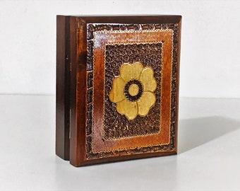 "Vintage Authentic Alpine Southern Poland Carved Inlaid Trinket or Keepsake Box, 4"" X 3"" X 2"", Brass & Copper Inlay, Fine Craftsmanship."