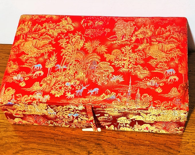 "Gorgeous Light Weight Travel Jewelry Box, Red & Gold Thick Satin Like Fabric, Oriental Forest Patterns, 10"" W. 6"" L. Free US Shipping."
