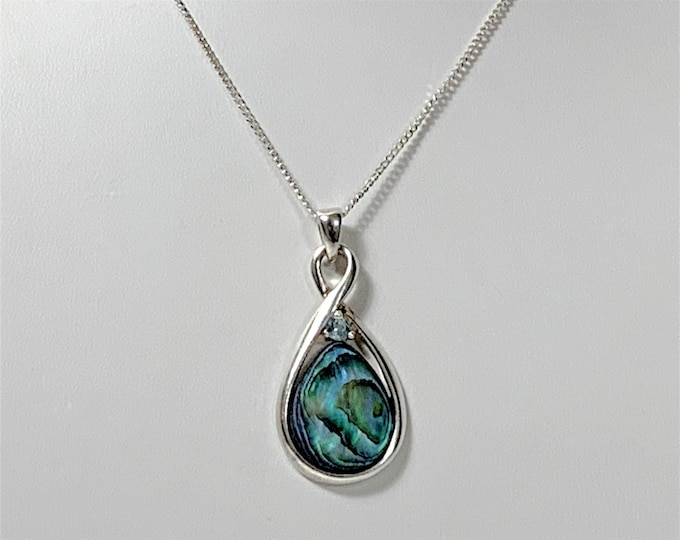 """Sterling Silver Abalone and Aquamarine Slide Necklace, Cabochon Teardrop Abalone 16 X 12 mm, 1 1/4"""" Slide, 19"""" Curb Link Chain,  Colorful"""
